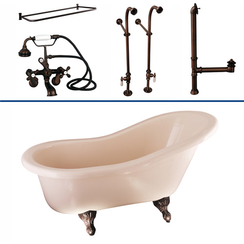 TKADTS60-BORB6 Tub Kit 60 AC Slipper  Shower Rd  Filler  Supplies  Drain-Oil Rubbed Bronze