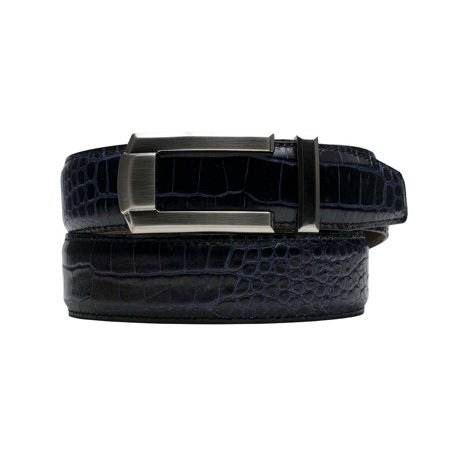 1a2c421db1f27 Nexbelt Rowland Thomas Kayiman Black Blue Crocodile Print Leather Dress  Belt - Walmart.com