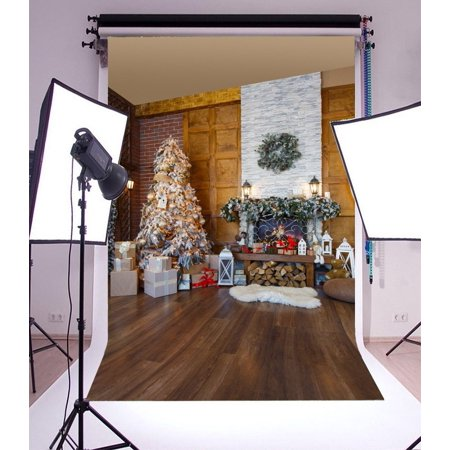 MOHome Polyster 5x7ft Christmas Backdrop Decoration Tree Fireplace Firewoods Lantern Gifts Box Garland Carpet Wood Floor Interior Photography Background Kids Children Adults Photo Studio Props
