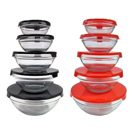 Carte Red Glass - 20 Pcs Healthy Glass Food Storage Containers Set With Red & Black Lids