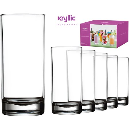 Plastic Tumbler Cups Drinking Glasses - Acrylic Highball Tumblers Set of 6 Clear 16 oz Unbreakable Reusable Kitchen Drinkware Dishwasher Safe Bpa Free Hard Rocks Glass Drink Cup for Wine Water Juice