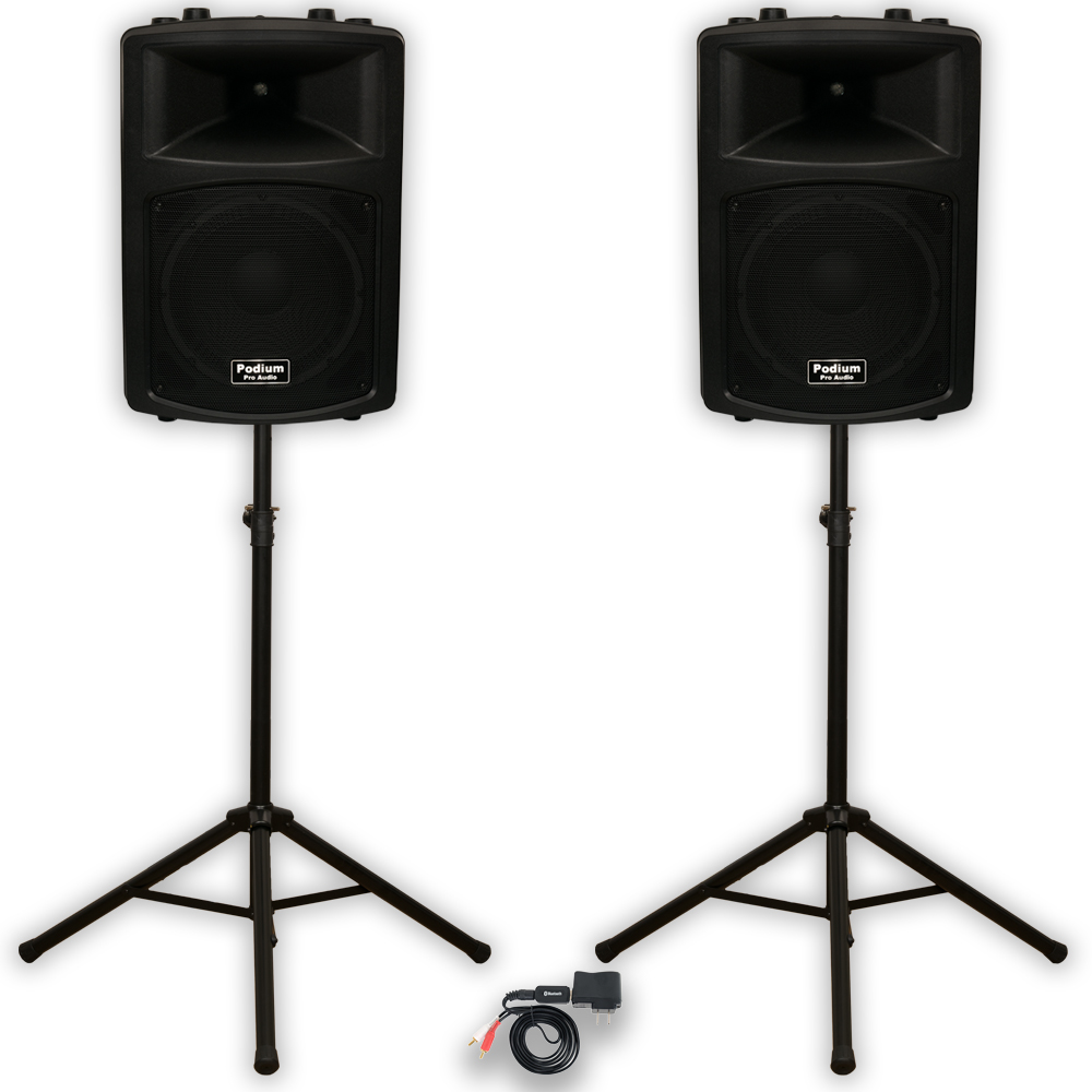 "Podium Pro PP1203A DJ 12"" Powered Speakers Bluetooth and Stands PA Karaoke Band"