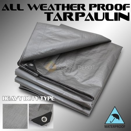 Mold and Mildew Resistant! Gray//White 10x16 16.5 MIL Super-Strong Poly Tarp Cover Water