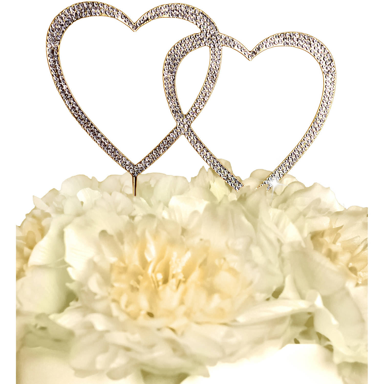 Unik Occasions Sparkling Collection Double Heart Cake Topper, Large, Gold
