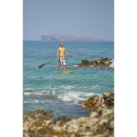 Hawaii Maui Makena Athletic Stand Up Paddle Surfer In Ocean PosterPrint (Maui Paddle)