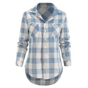 Womens Casual Loose Lapel Collar Plaid Blouse Shirts Long Sleeve Tops