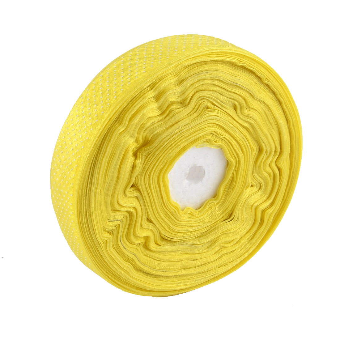 Wedding Room Polyester Satin Dot Print Ribbon Roll DIY Gift Package Craft Yellow