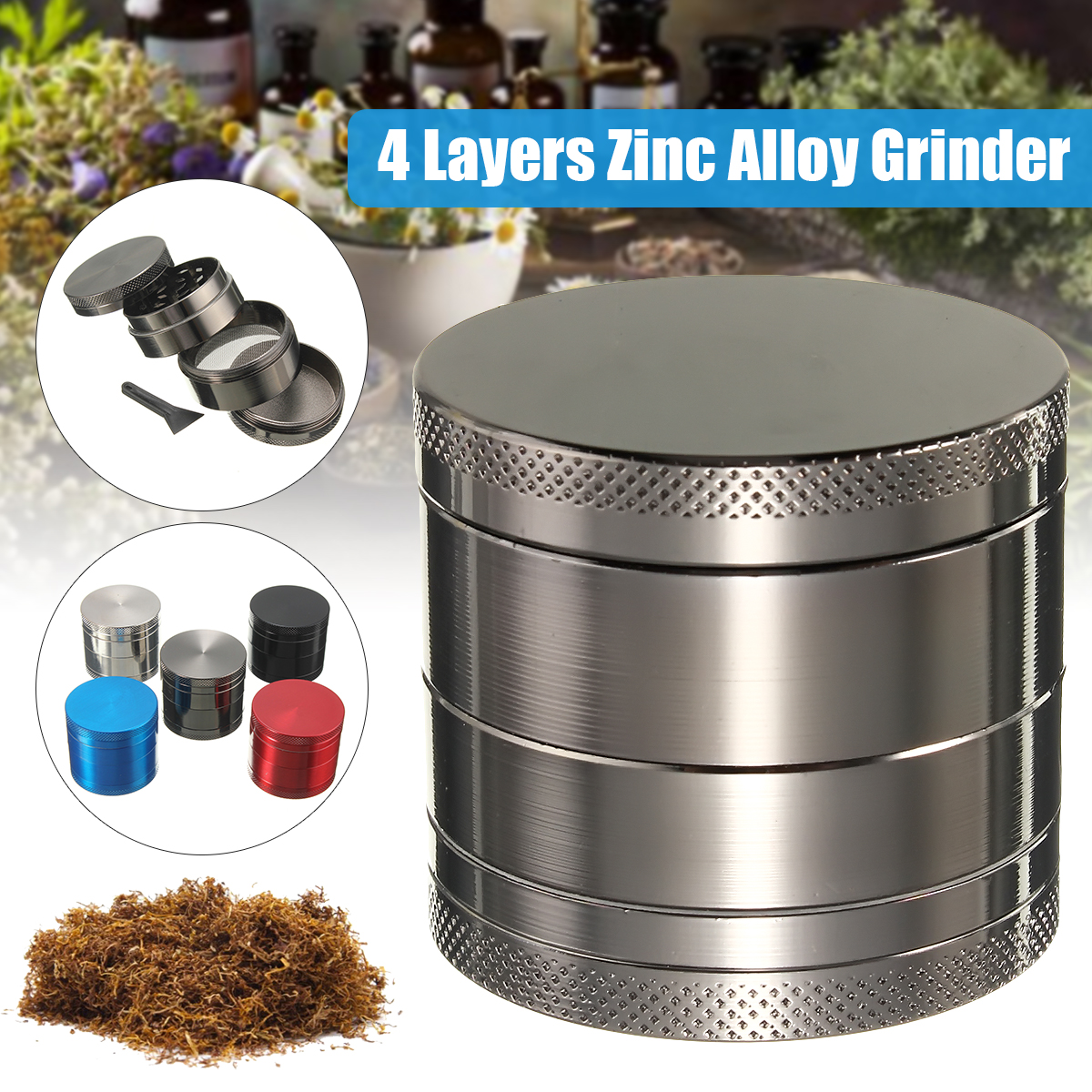 """4-Layers 1.6""""x1.4"""" Zinc Alloy Grinder Metal Spice Crusher Hand Muller Herbal Herb Gift Muticolor"""