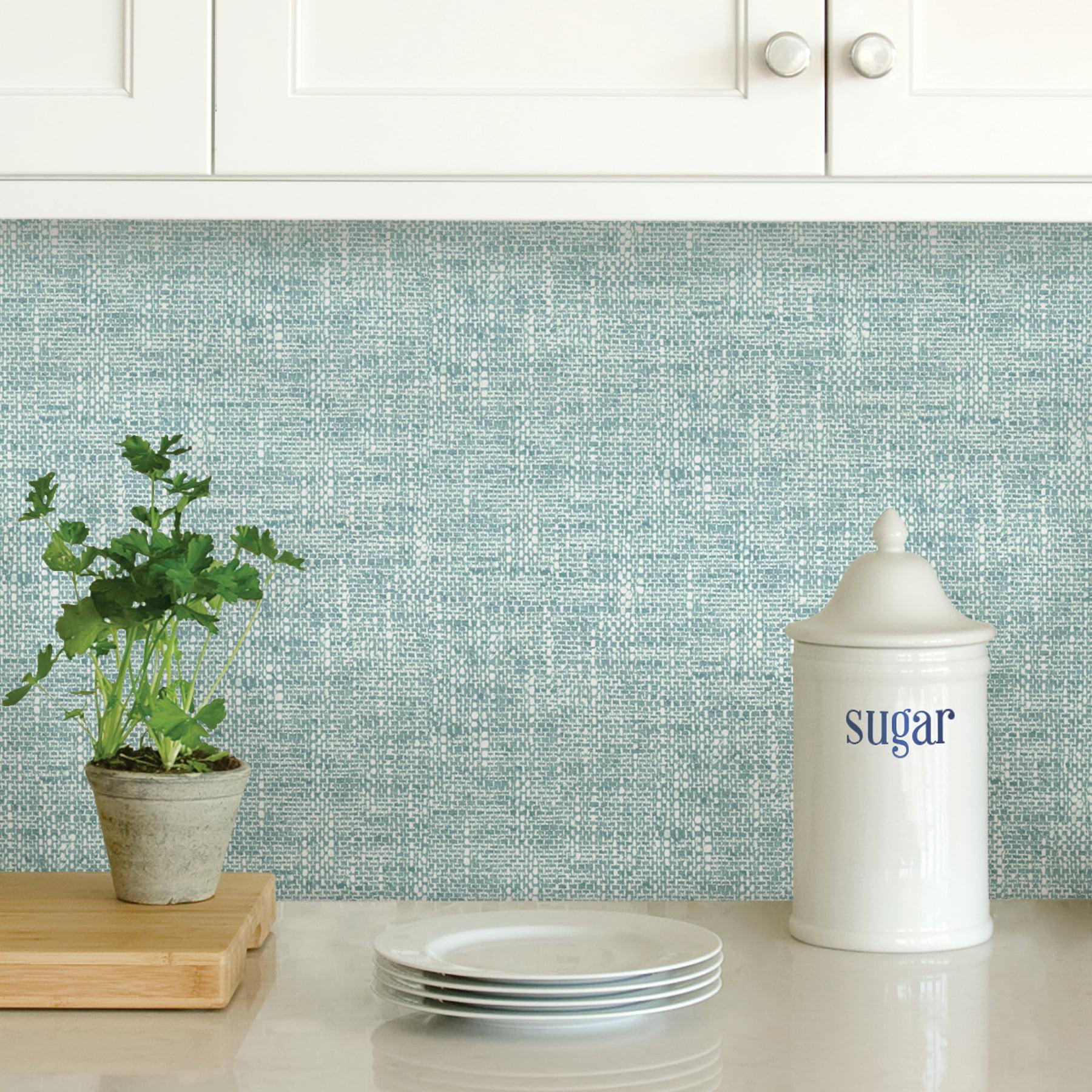 Nuwallpaper Aqua Poplin Texture Peel Stick Wallpaper Walmart Com Walmart Com