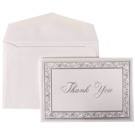 - JAM Paper Thank You Card Sets, Bright White Cards with Silver Border, 104 Cards & 100 Envelopes