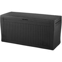 Deals on Keter Comfy 71 Gallon Resin Wood Storage Deck Box 231319