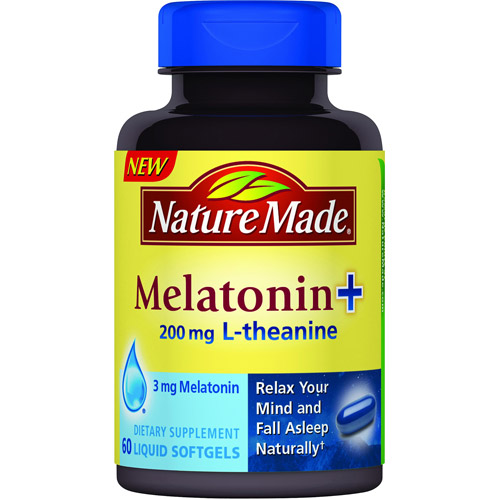 Nature Made Melatonin + 200mg L-Theanine Dietary Supplement Liquid Softgels, 60 count