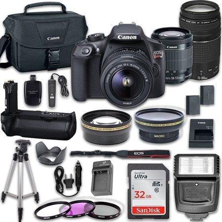 Tcp Ip Camera (canon eos rebel t6 digital slr camera kit with ef-s 18-55mm and ef 75-300mm zoom lenses+ filters , aux lense, power grip , remote , tulip , 32gb sd memory)