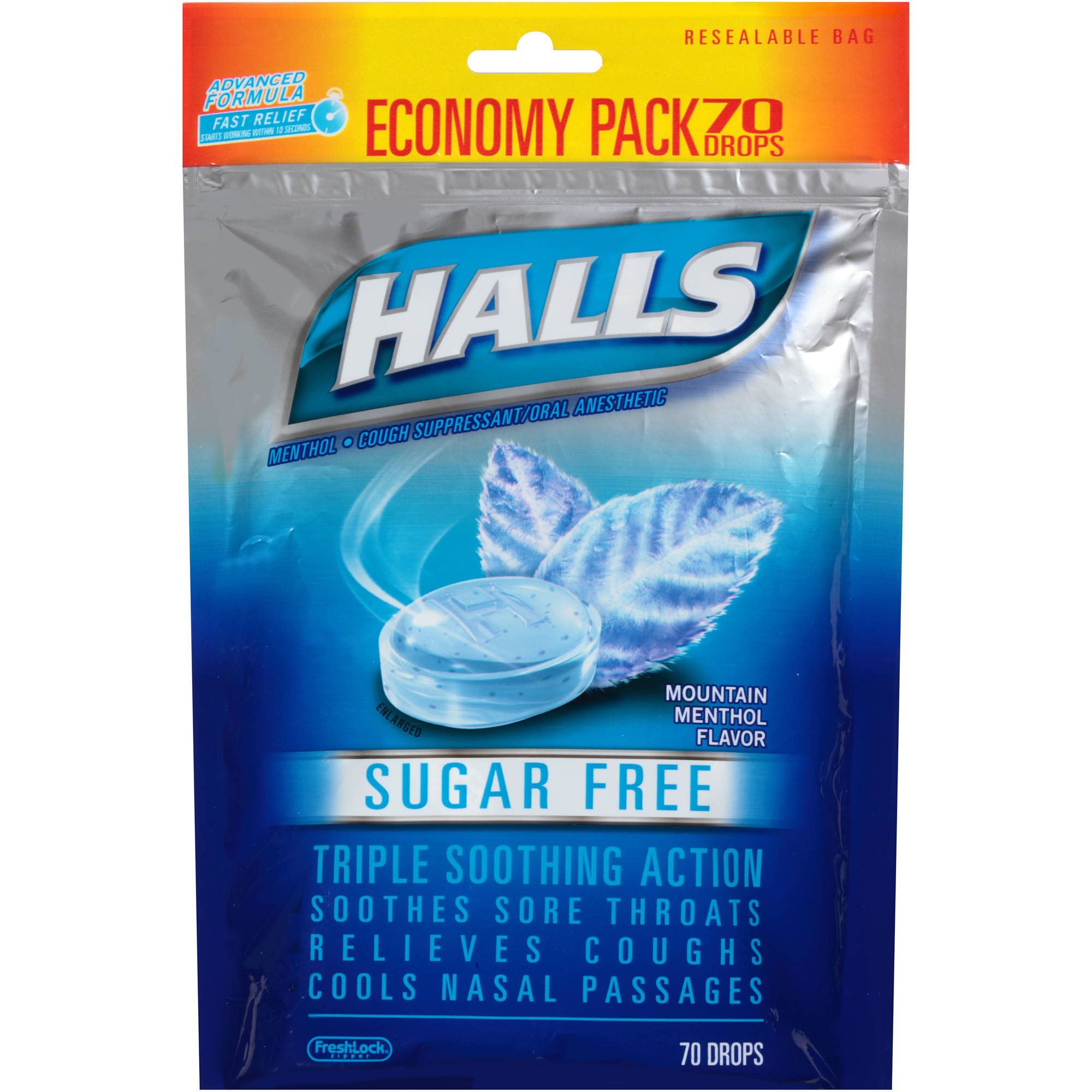 Halls Sugar Free Mountain Menthol Flavor Cough Suppressant/Oral Anesthetic Drops, 70 count
