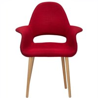 2xhome - Red Mid Century Modern Upholstered Fabric Organic Accent Living Room Dining Desk Chair Armchair Set With Back Armrest Natural Light Wood Wooden Legs for Kitchen Bedroom