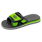 Men's XL Slides Flip Flop Sandal Athletic Shoes (Men's 15, Black/Lime Green)