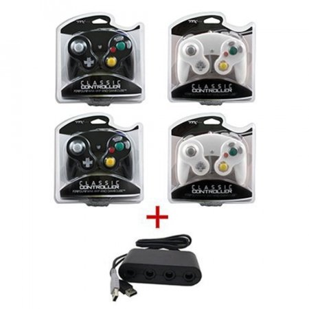 2 X Black 2 X White Gamecube Controllers Wii U Adapter For Super