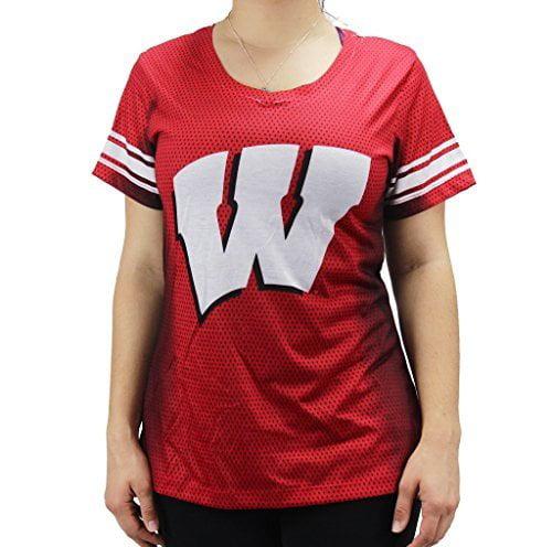 Creative Apparel Women' s NCAA Wisconsin Badgers V-neck T-Shirt