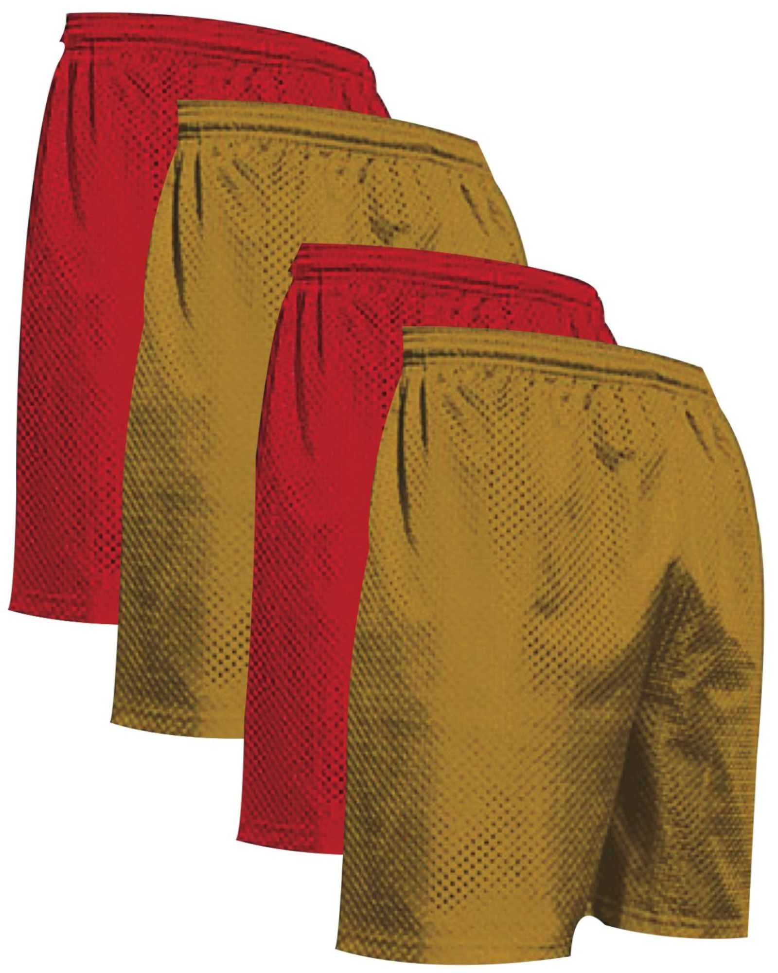 """VALUE PACK  > BUY 2 GET 2 FREE >  4 PACK > THE RAM BRAND > Men's  9"""" Performance Pro Mesh Gym Champ Shorts (XS-4XL) $10 S/H is on the 1st Pack only. In this Pack: (XS)(2Red/2AthGold)"""