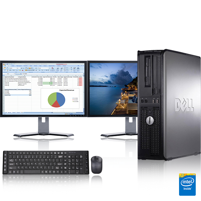 "Dell Optiplex Desktop Computer 2.9 GHz Core 2 Duo Tower PC, 8GB, 500 GB HDD, Windows 10 x64, 19"" Dual Monitor , USB Mouse & Keyboard"