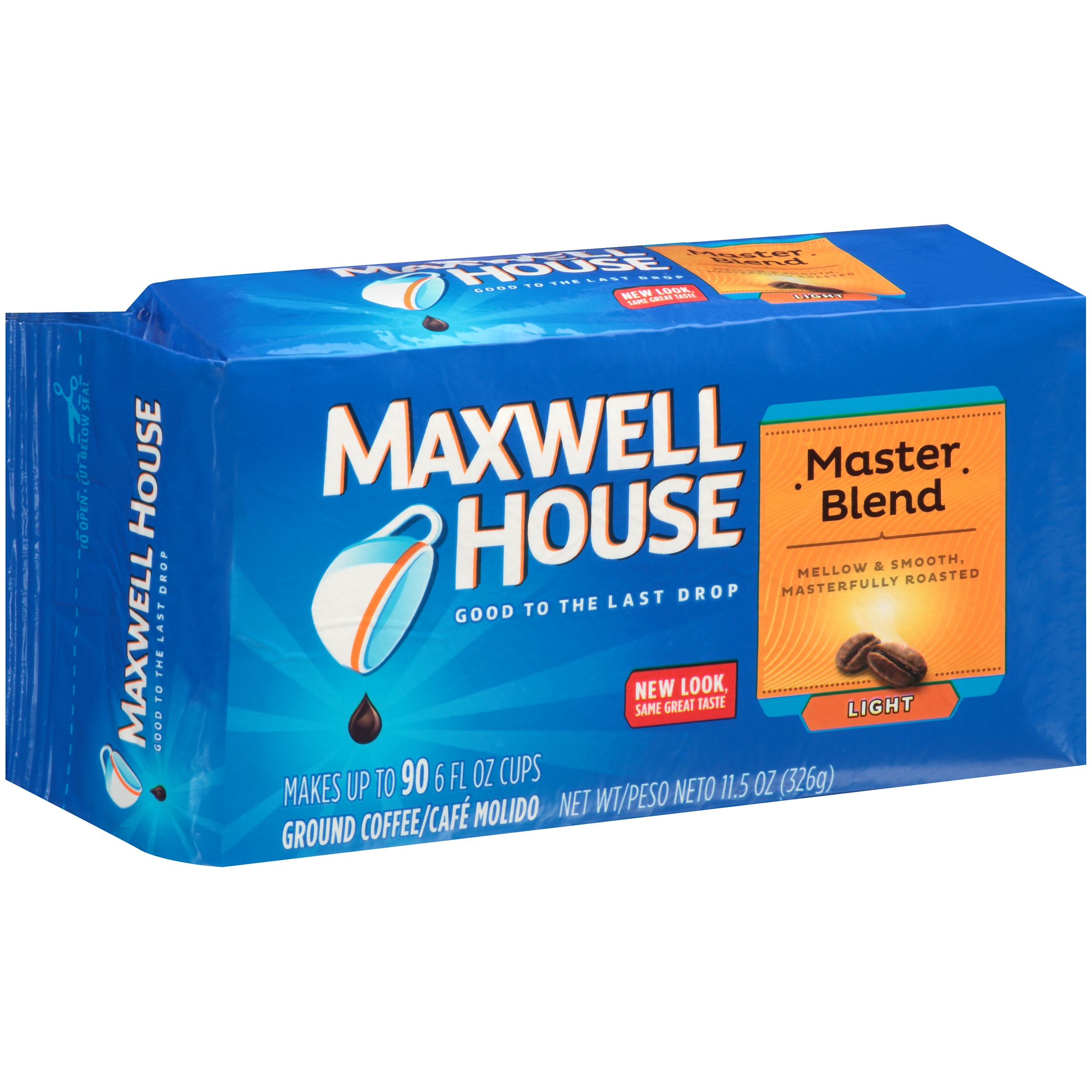 Maxwell House Master Blend Light Roast Ground Coffee, 11.5 OZ (326g) Brick