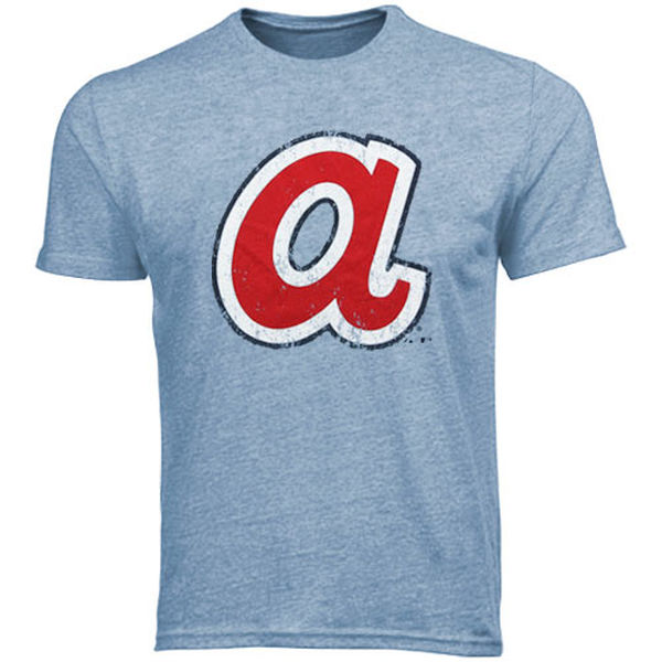 Majestic Threads Atlanta Braves 1972-1980 Cooperstown Logo Tri-Blend T-Shirt - Light Blue
