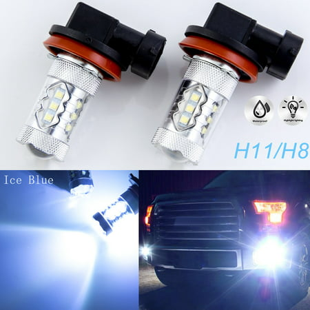 Drl Module (Xotic Tech 2pcs White Light Bluish 80W H8 H11 H9 LED Bulbs for Daytime Running DRL Fog Lights)