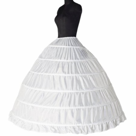 Bridal Petticoats Slips Dress Petticoat Wedding Dress White Underskirt Petticoats Crinoline Slips 6 Hoops by TMISHION - Hoop Dresses For Sale