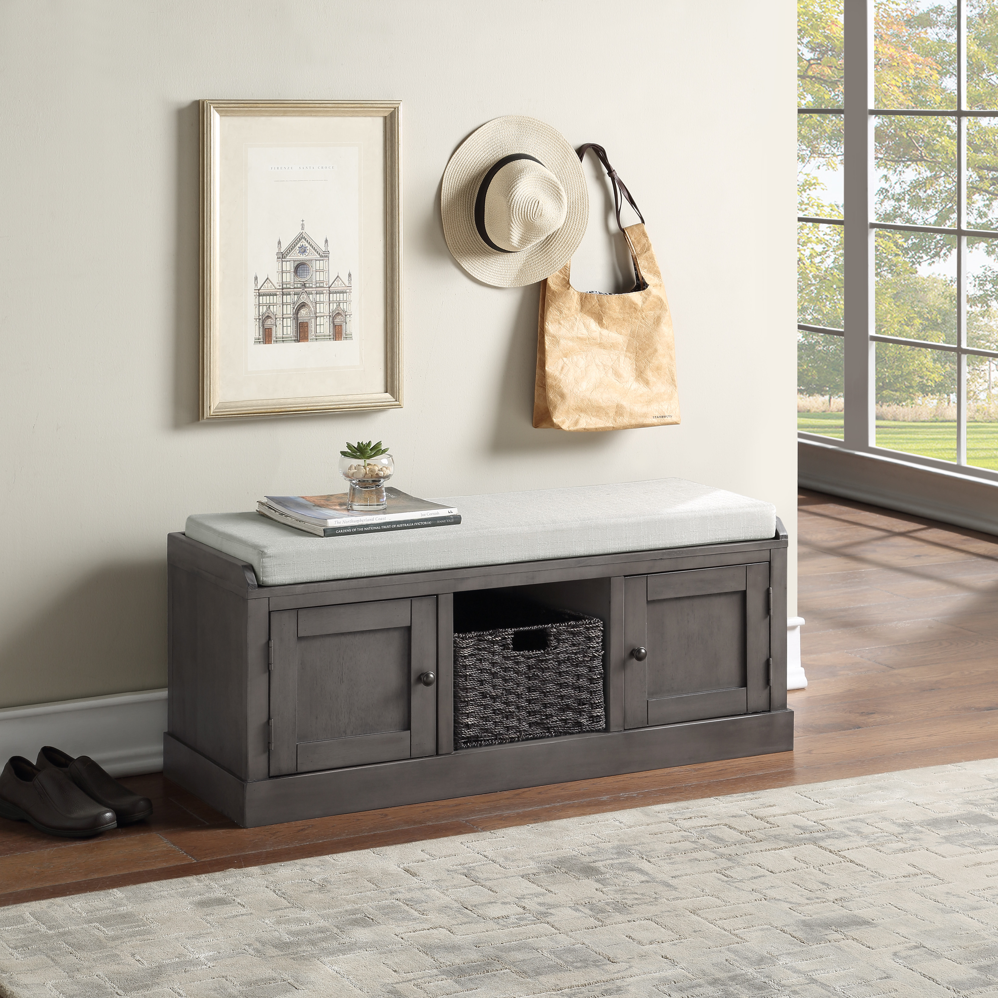 Grey Entryway Storage Bench Yofe Storage Bench With 2 Cabinets And 1 Basket Wood Entry Storage Bench With Cushion Rustic Shoe Bench Storage Bench For Entryway Hallway Mudroom Living Room R3488