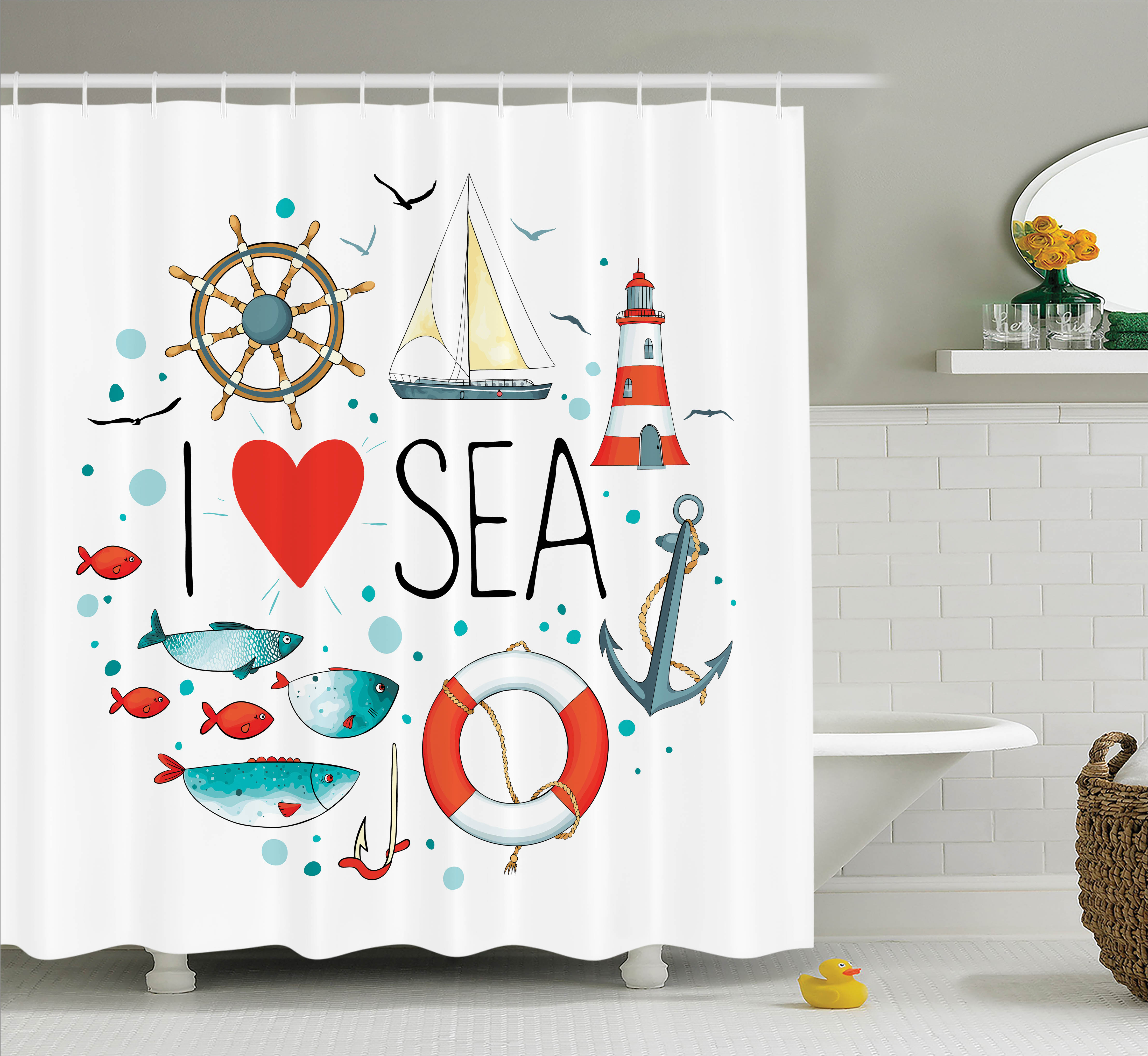 "Nautical Shower Curtain, ""I Love Sea"" Quote with Heart Figure Sea Materials Anchor Compass Knotted Rope, Fabric Bathroom Set with Hooks, White Red Blue, by Ambesonne"