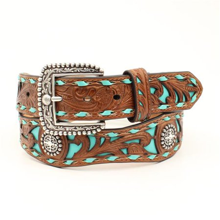 Ariat A1529608-S 1.50 in. Floral Embossed Turquoise Underlay Scalloped Strap Ladies Belt & Buckle, Tan - Small - image 1 of 1