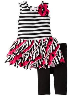 Toddler Girls 2T-4T Stripe and Dot Bias Tier Knit Dress/Legging Set [BNJ07736]