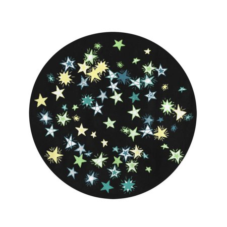 JSDART 60 inch Round Beach Towel Blanket Doodle Stars on Dark Pattern in Primitive Cute Galaxy Travel Circle Circular Towels Mat Tapestry Beach Throw - image 2 of 2