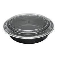 "Asporto 48 oz Round Black Plastic To Go Box - with Clear Lid, Microwavable - 9"" x 9"" x 1 3/4"" - 100 count box"