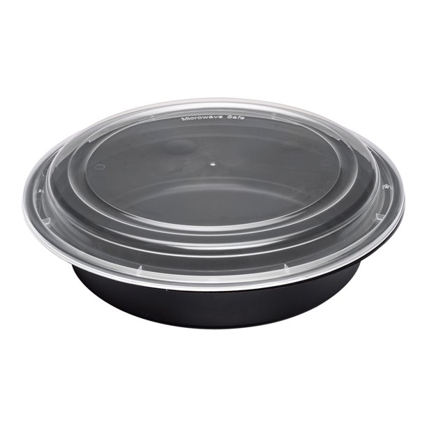 "Asporto 48 oz Round Black Plastic To Go Box - with Clear Lid, Microwavable - 9"" x 9"" x 1 3/4"" - 100 count box"