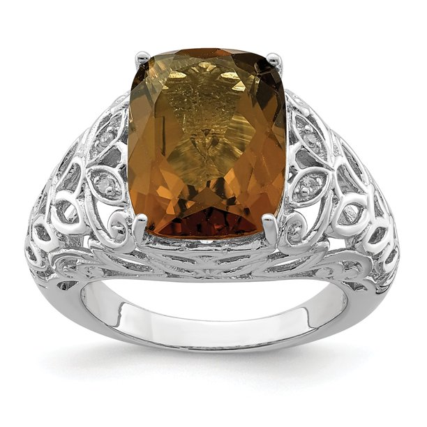 Sterling Silver 2 MM Whiskey Quartz and Diamond Ring, Size 8