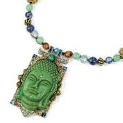 Sweet Romance  Gemstone Beaded Vintage Green Buddha Boho Necklace