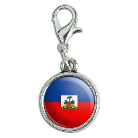Flag Shoe Charm (Haiti National Country Flag Antiqued Bracelet Pendant Zipper Pull Charm with Lobster)