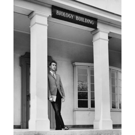 Young man leaning against a column CW Post College Long Island University Brookville New York City USA Stretched Canvas -  (18 x 24)