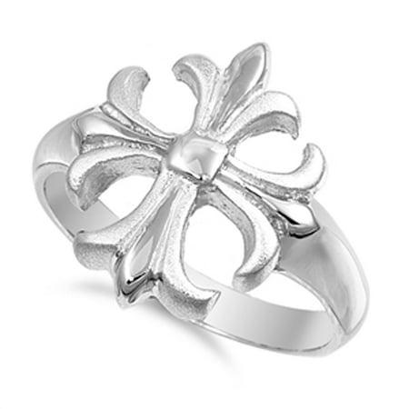 Fleur De Lis Cross Satin Finish Christian Ring Sterling Silver Band Size 10 (Satin Band Sterling Silver Ring)