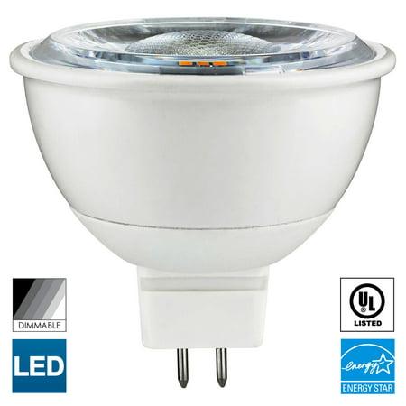 - Sunlite MR16 LED Bulb, 12 Volt, Mini Quartz Reflector, 7 Watt, 3000K Warm White, 600 Lumens, 80 CRI, GU5.3 Base, 25,000 Hour Long Life, Dimmable, UL Listed, Energy Star , 50W Equivalent, Cool Touch