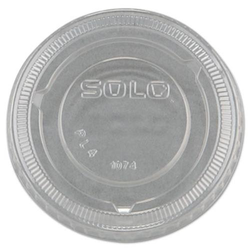 Solo Cup Company PL4N No-slot Plastic Cup Lids, 3.25-9oz Cups, Clear, 100/sleeve, 25 Sleeves/carton