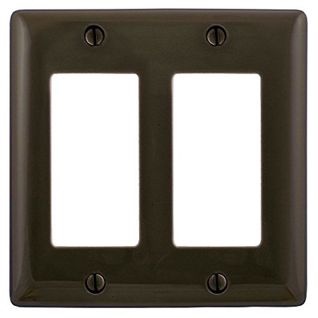 Hubbell Wiring Systems NPJ262 Wall Plate Nylon Mid-Sized 2-Gang 2 Decorator Brown - image 1 de 1