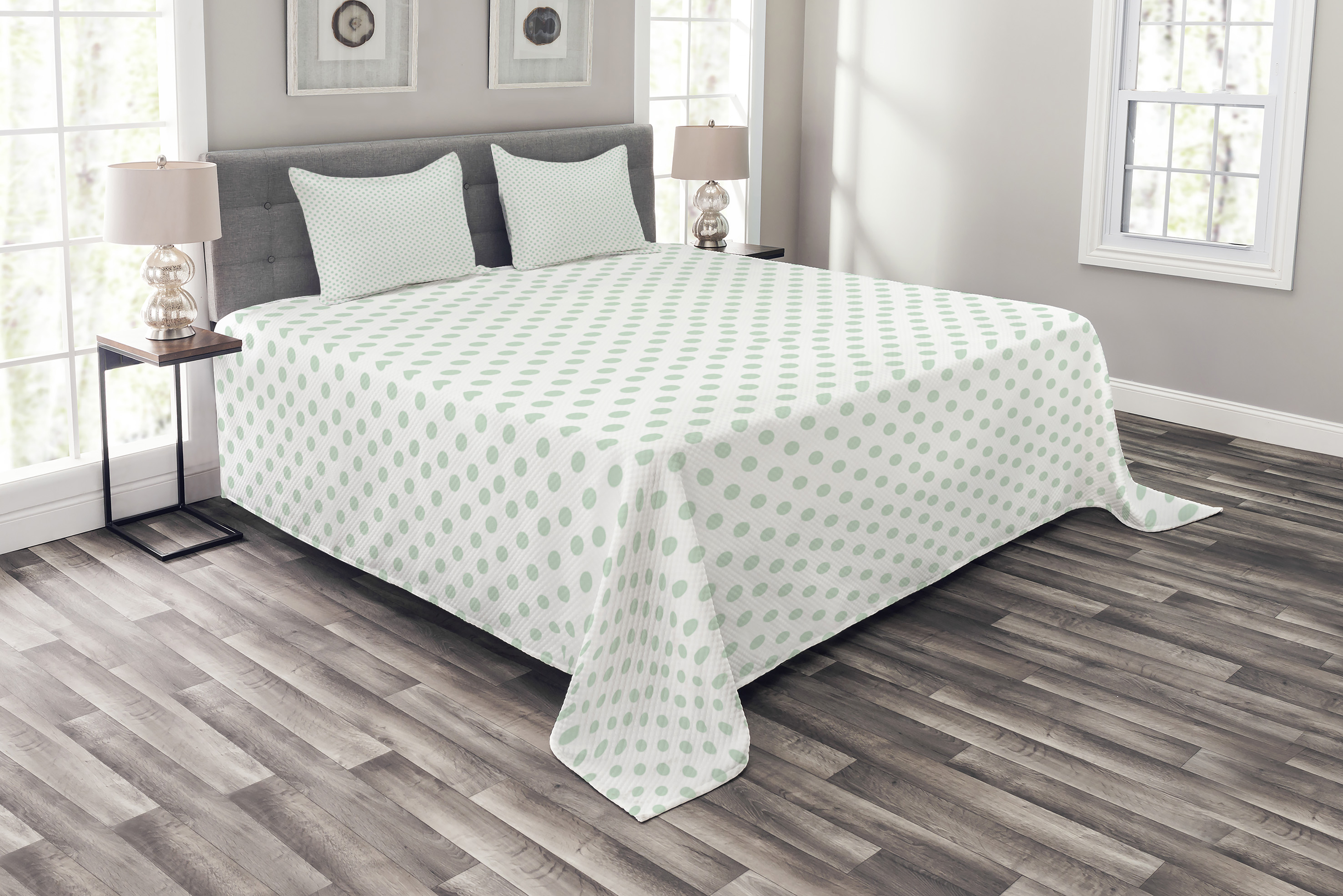 Green Bedspread Set Retro Pattern With