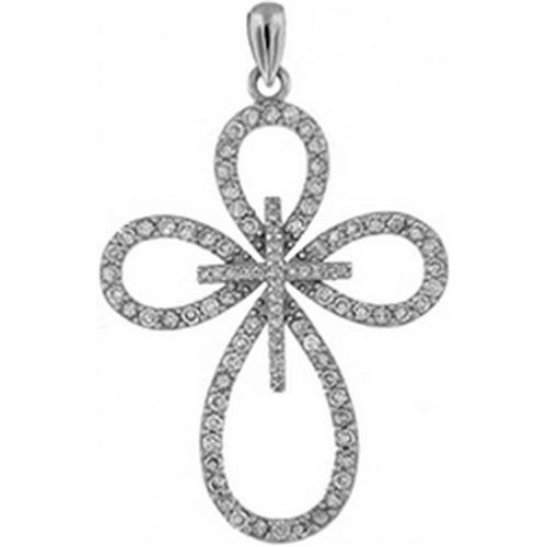 Doma Jewellery DJS03498 Sterling Silver (Rhodium Plated) Religious Pendant with CZ - 44mm Height and Extension Leather