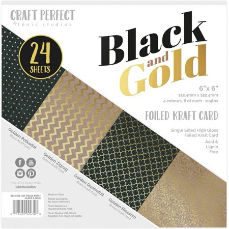 "Craft Perfect Luxury Embossed Cardstock 6""X6"" 24/Pkg-Black & Gold-LUXEMB6-9434E - image 1 of 1"
