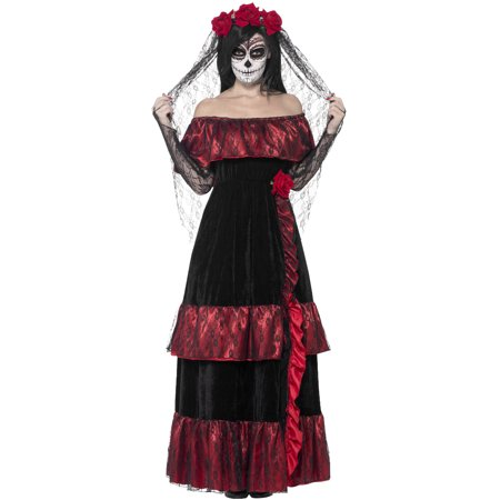 Halloween Dead Bride Hair (Adult's Womens Day Of The Dead Gothic Rose Bride Dress)