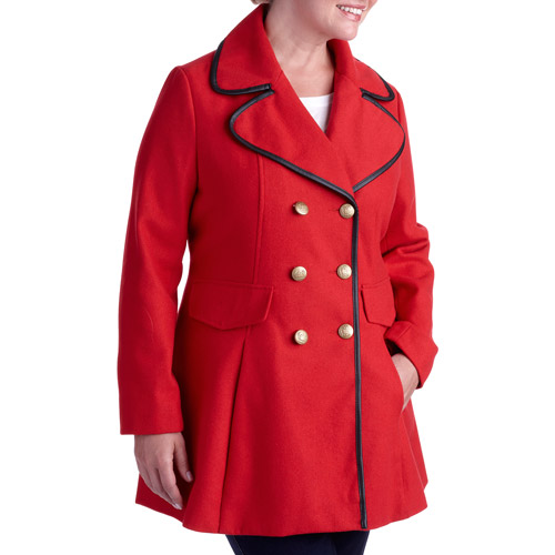 Women's Plus-Size Military Chic Double-Breasted Faux Wool Coat With Contrast Piping