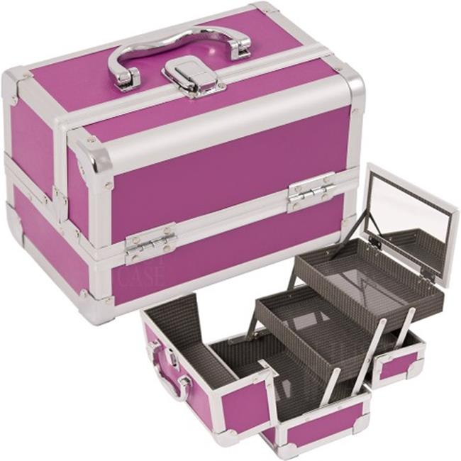 Justcase M1001PPPL Purple Makeup Case With Mirror