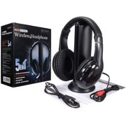 Wireless TV Headphones Home Headset for TV Watching, TV Ears Microphone 5 in 1 Functions with Transmitter/FM Radio/3.5 MM Jack/Net Chat and Monitoring(Black)